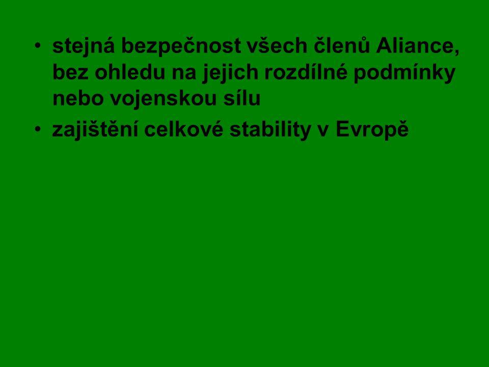 stejná bezpečnost všech členů Aliance, bez ohledu na jejich rozdílné podmínky nebo vojenskou sílu