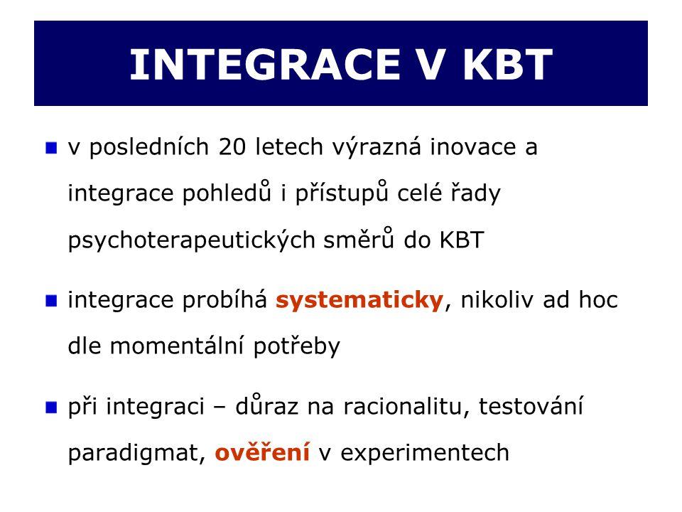 INTEGRACE V KBT v posledních 20 letech výrazná inovace a integrace pohledů i přístupů celé řady psychoterapeutických směrů do KBT.