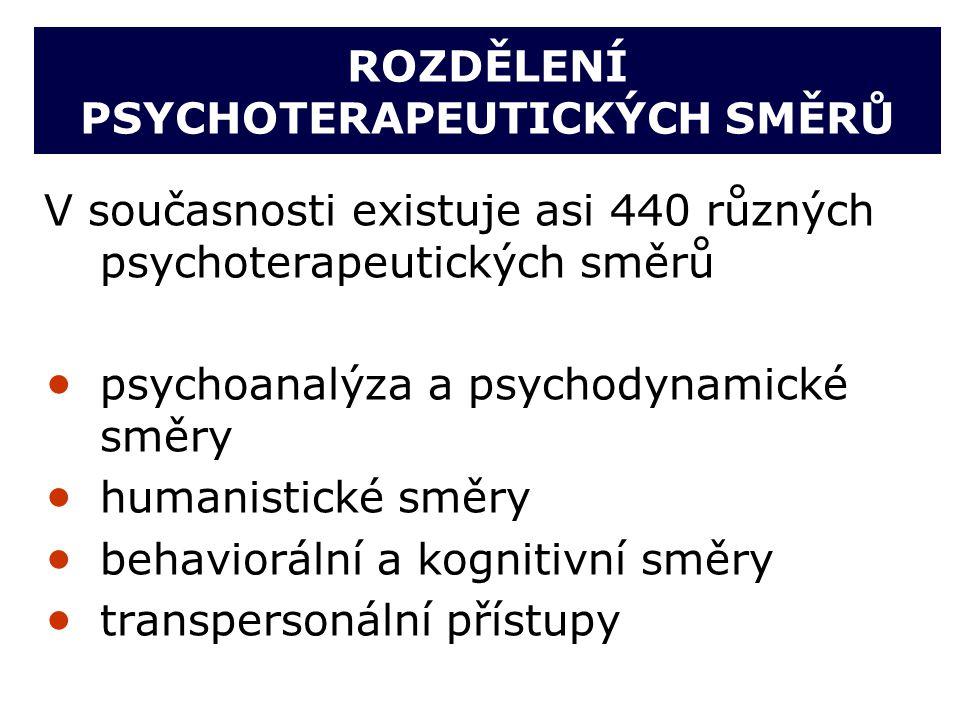 ROZDĚLENÍ PSYCHOTERAPEUTICKÝCH SMĚRŮ