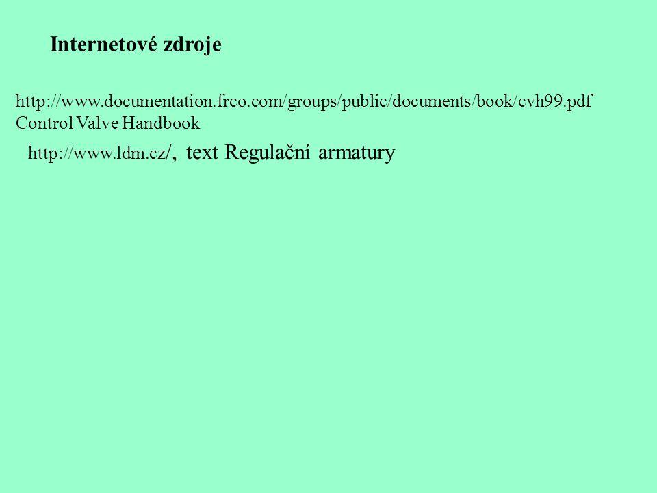 Internetové zdroje http://www.documentation.frco.com/groups/public/documents/book/cvh99.pdf. Control Valve Handbook.