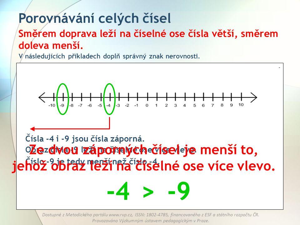 -4 > -9 Porovnávání celých čísel