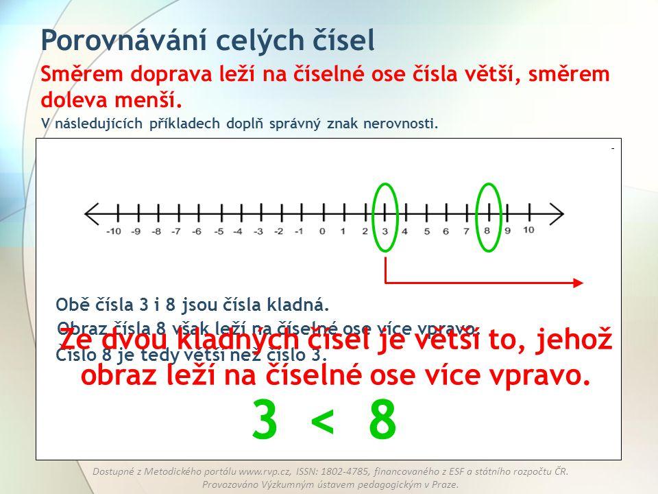 3 < 8 Porovnávání celých čísel
