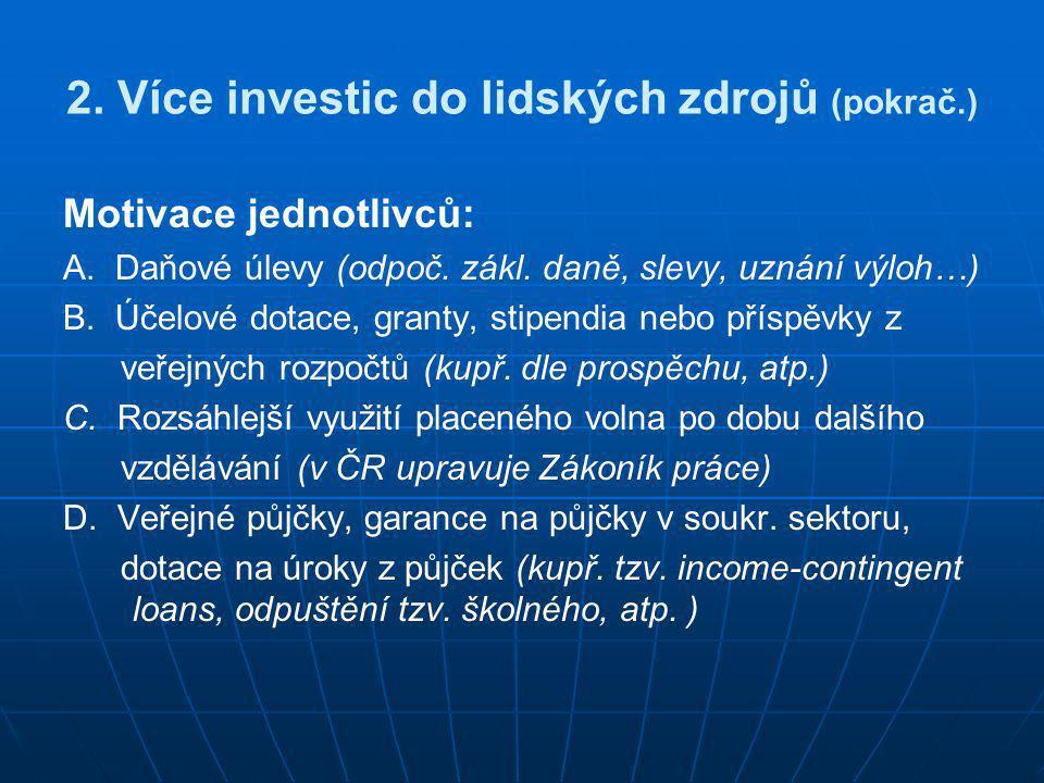 2. Více investic do lidských zdrojů (pokrač.)