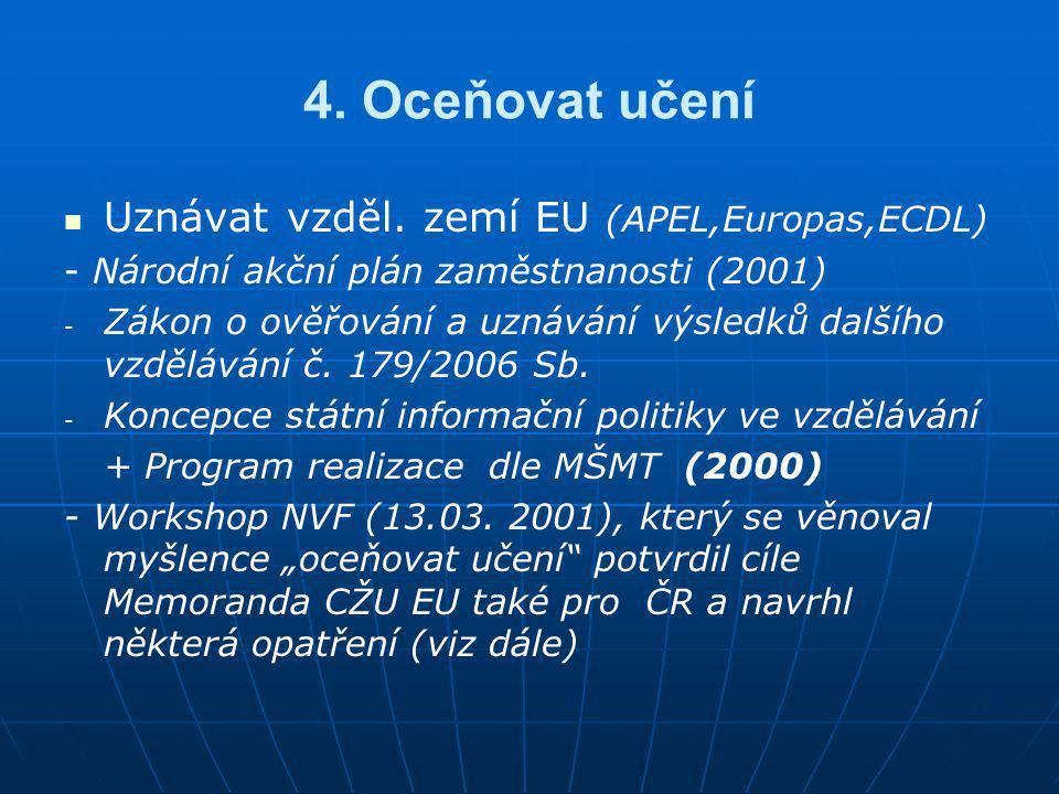 4. Oceňovat učení Uznávat vzděl. zemí EU (APEL,Europas,ECDL)