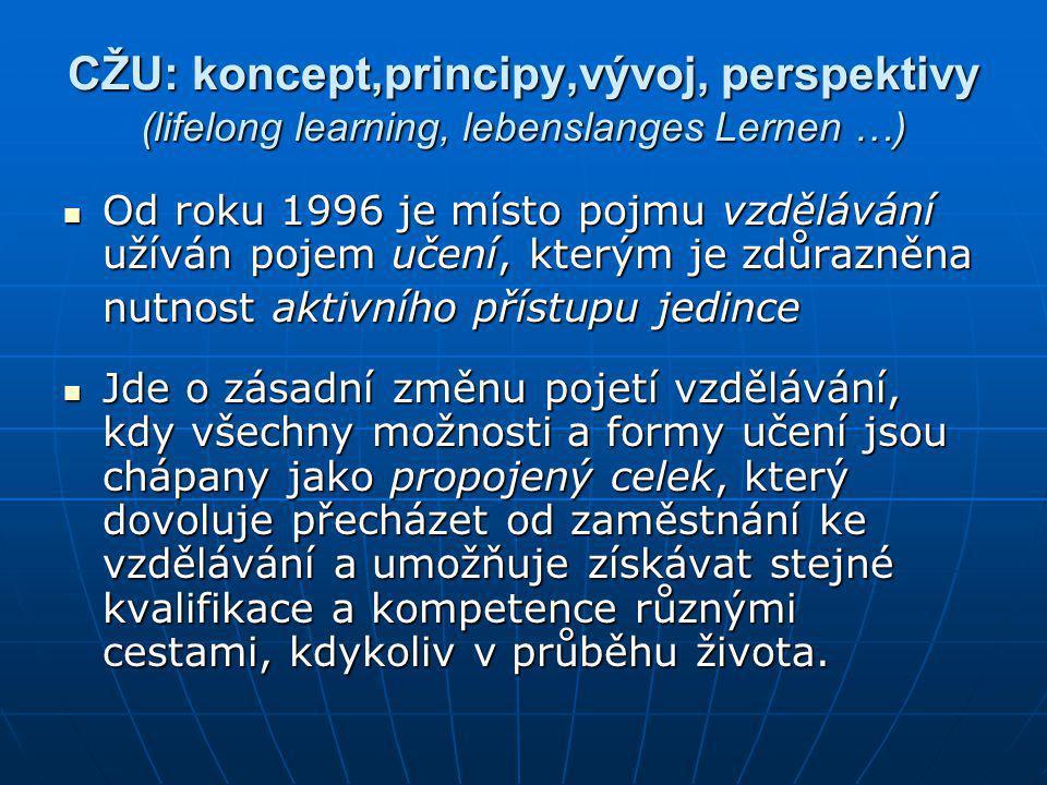 CŽU: koncept,principy,vývoj, perspektivy (lifelong learning, lebenslanges Lernen …)