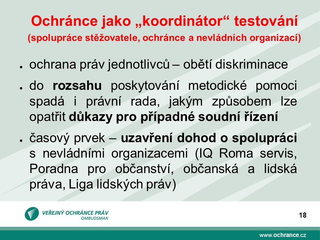 """Ochránce jako """"koordinátor testování (spolupráce stěžovatele, ochránce a nevládních organizací)"""