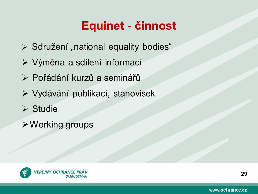 Equinet - činnost Výměna a sdílení informací Pořádání kurzů a seminářů