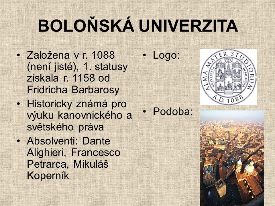 BOLOŇSKÁ UNIVERZITA Založena v r. 1088 (není jisté), 1. statusy získala r. 1158 od Fridricha Barbarosy.