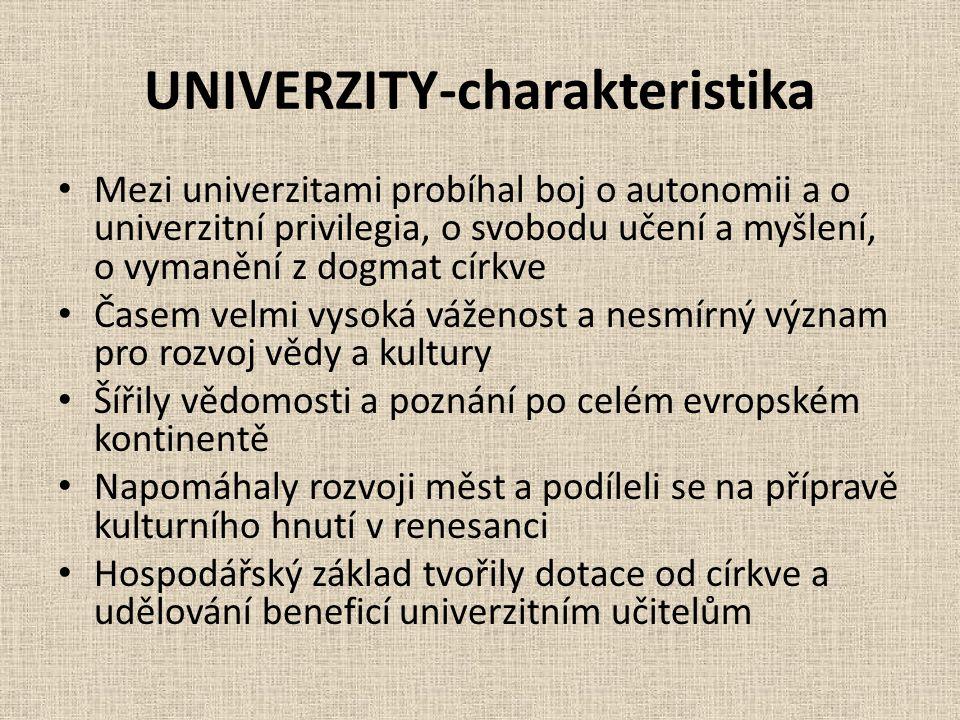 UNIVERZITY-charakteristika