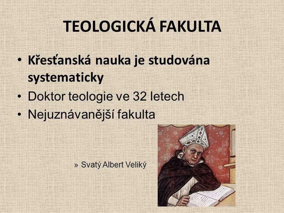 TEOLOGICKÁ FAKULTA Křesťanská nauka je studována systematicky