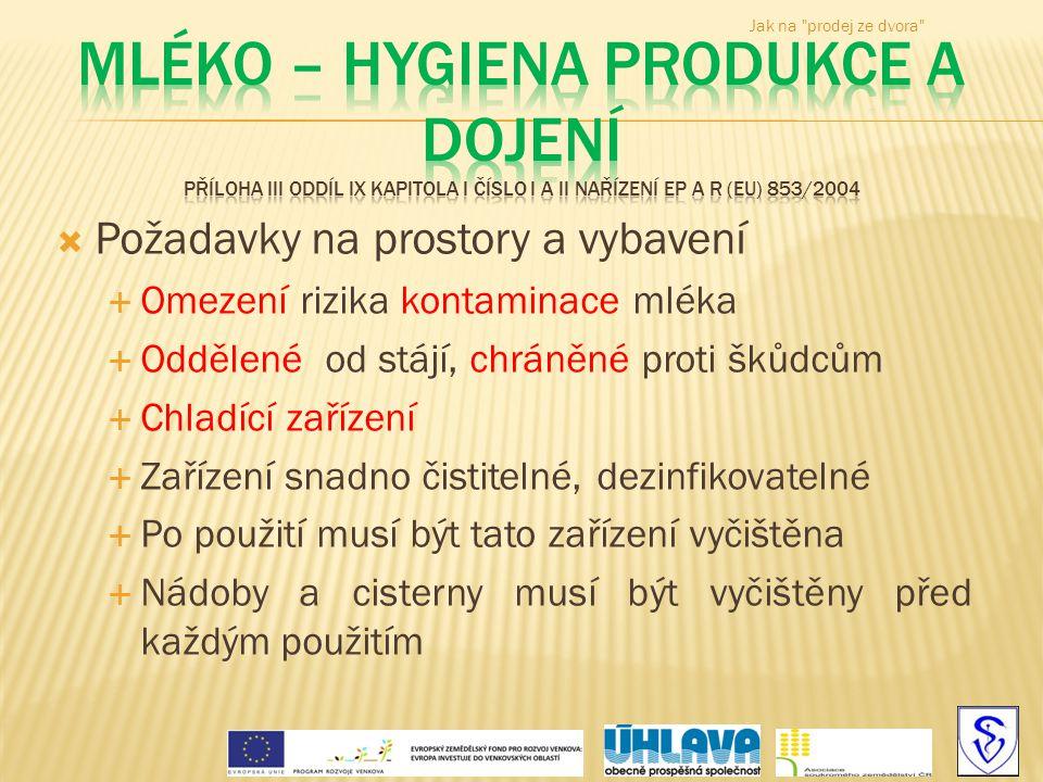 Jak na prodej ze dvora Mléko – hygiena produkce a dojení příloha III oddíl IX kapitola I číslo I a II nařízení EP a R (EU) 853/2004.