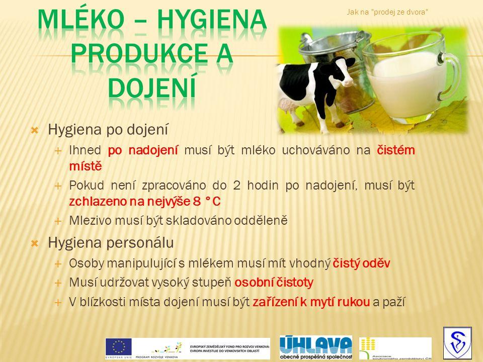 Mléko – hygiena produkce a dojení