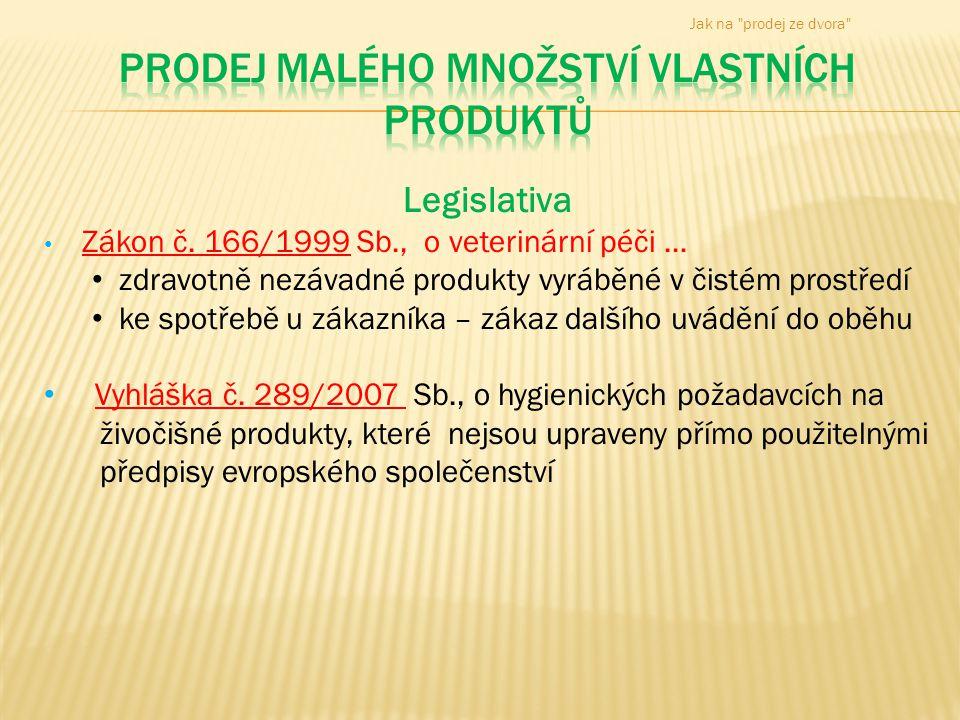 Prodej malého množství vlastních produktů
