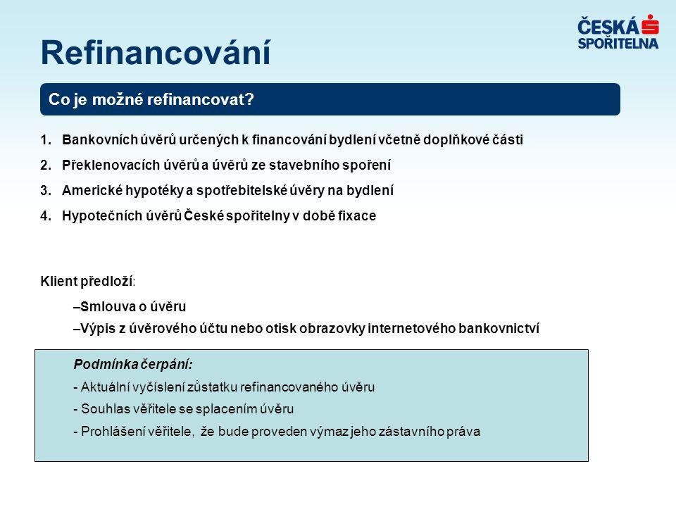 Refinancování Co je možné refinancovat