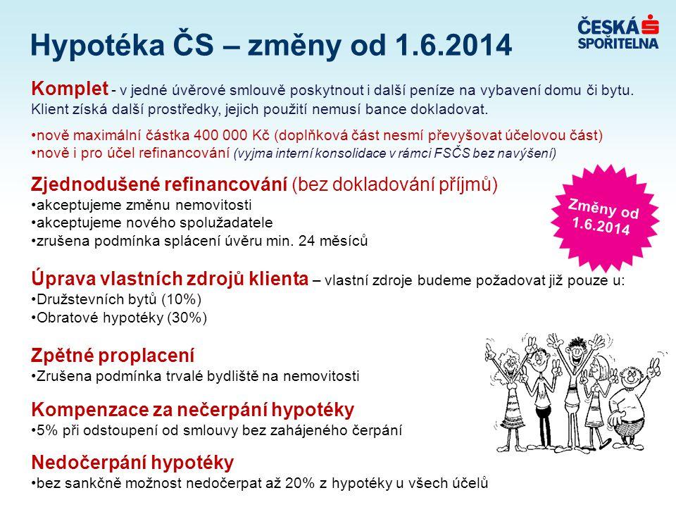 Hypotéka ČS – změny od 1.6.2014 Komplet - v jedné úvěrové smlouvě poskytnout i další peníze na vybavení domu či bytu.