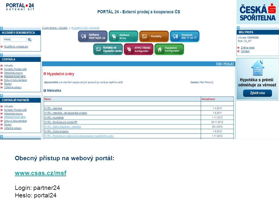 Obecný přístup na webový portál:
