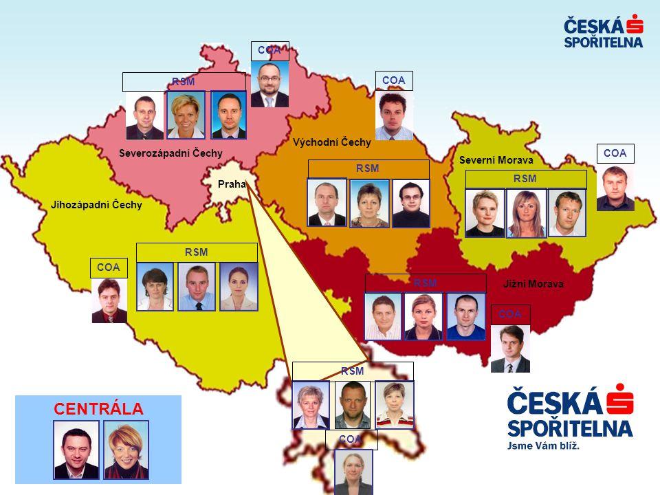 CENTRÁLA COA Východní Čechy Severozápadní Čechy Severní Morava RSM