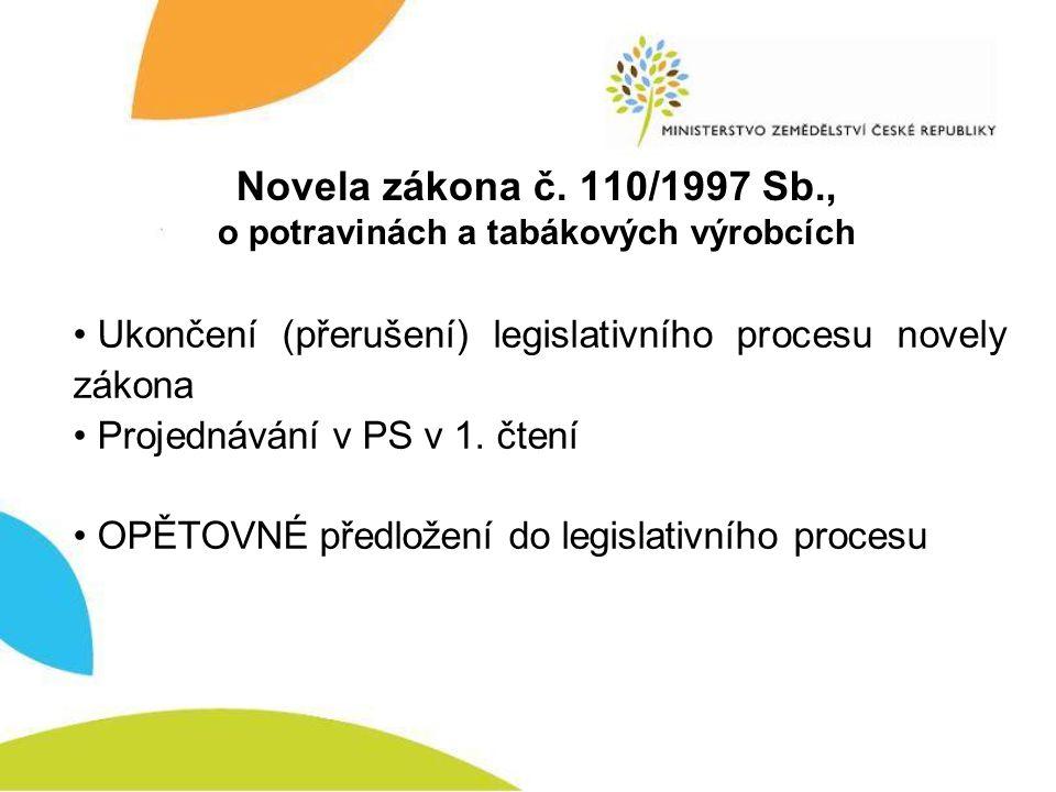 Novela zákona č. 110/1997 Sb., o potravinách a tabákových výrobcích