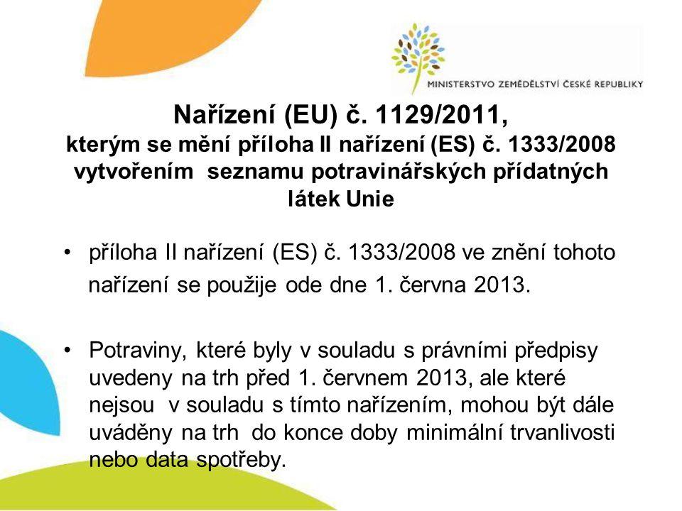 Nařízení (EU) č. 1129/2011, kterým se mění příloha II nařízení (ES) č