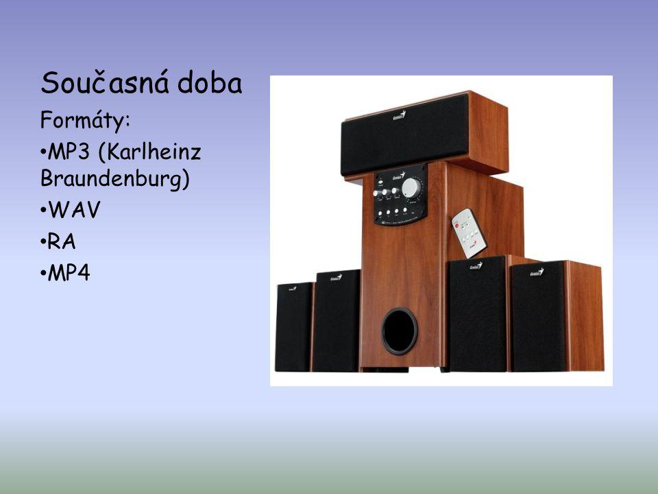 Současná doba Formáty: MP3 (Karlheinz Braundenburg) WAV RA MP4