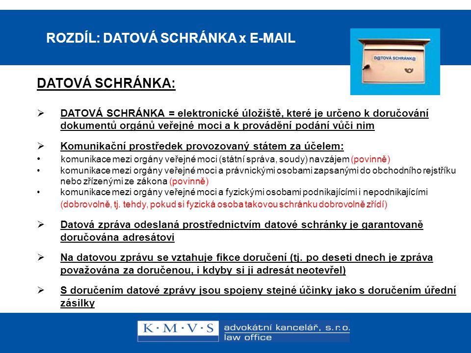 ROZDÍL: DATOVÁ SCHRÁNKA x E-MAIL