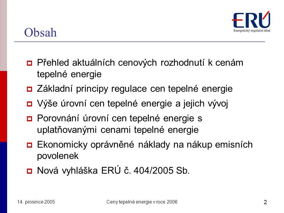 Ceny tepelné energie v roce 2006
