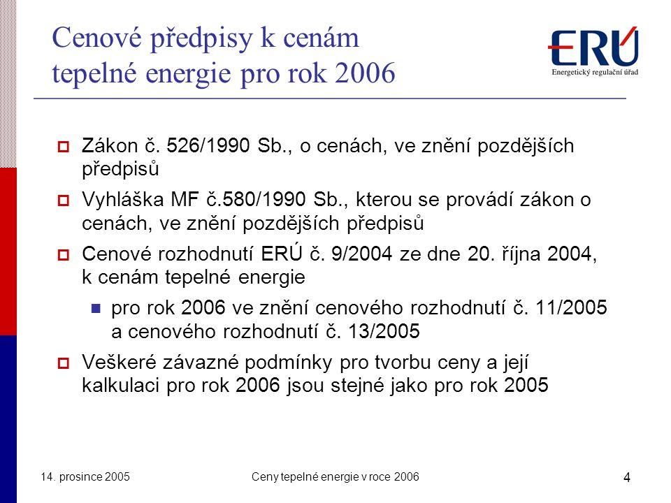 Cenové předpisy k cenám tepelné energie pro rok 2006