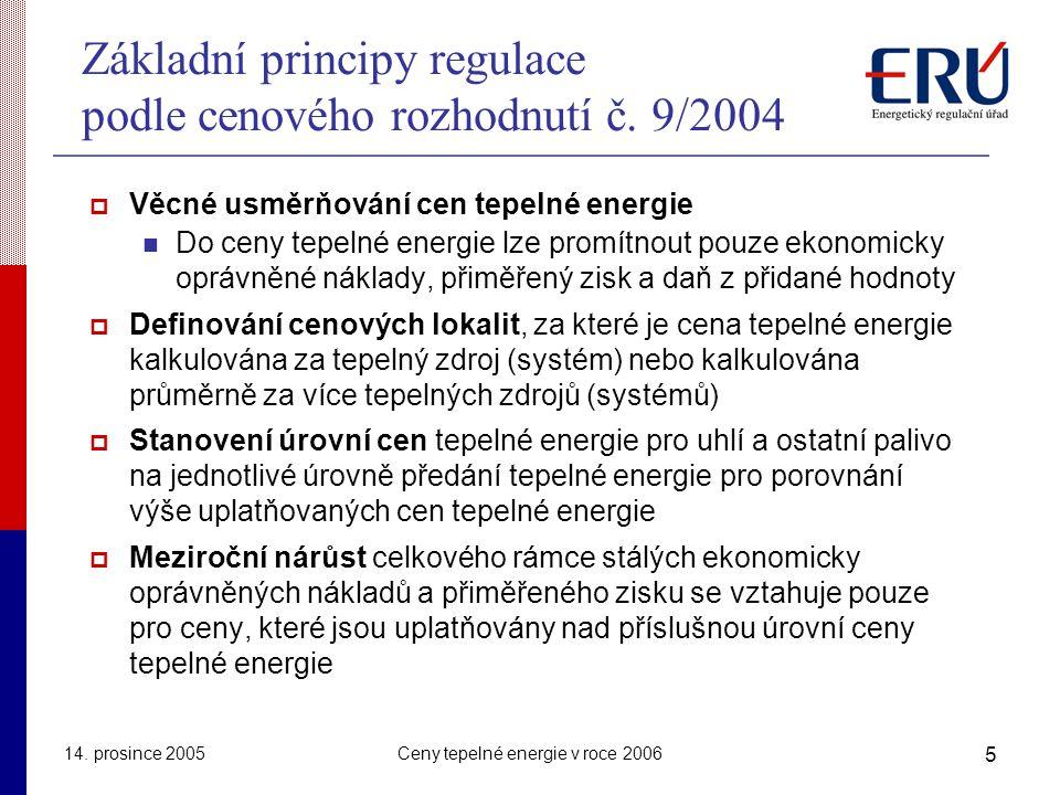 Základní principy regulace podle cenového rozhodnutí č. 9/2004