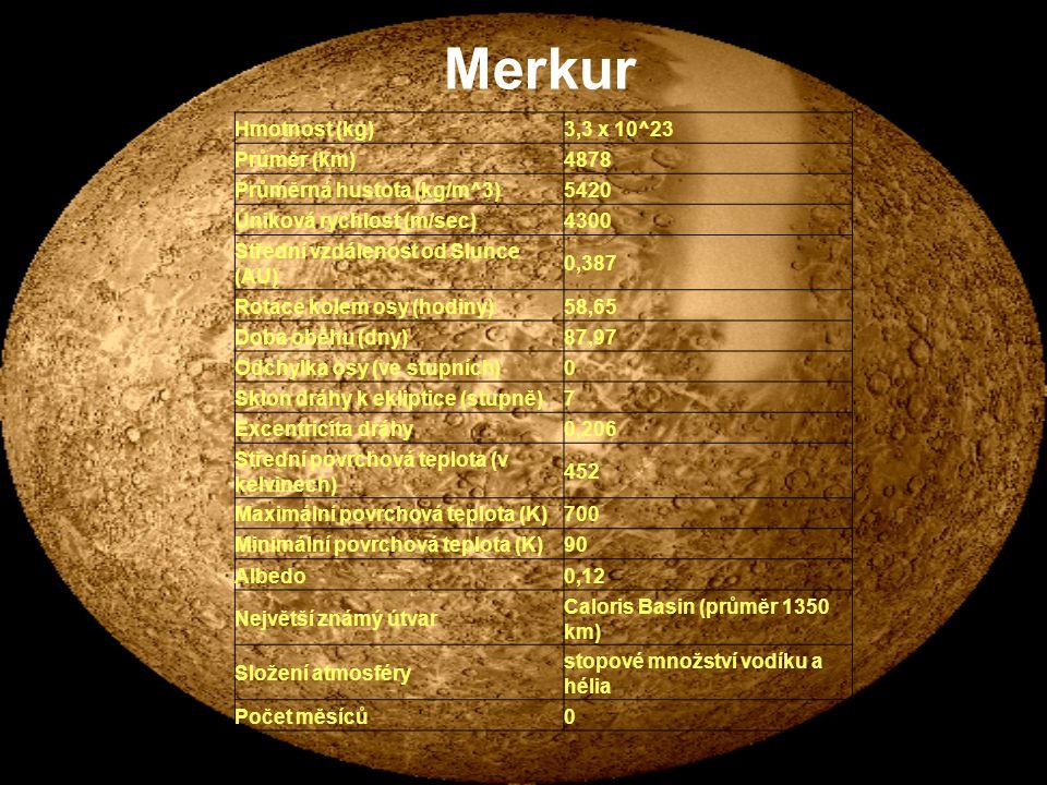 Merkur . Charakteristika Venuše Hmotnost (kg) 3,3 x 10^23 Průměr (km)