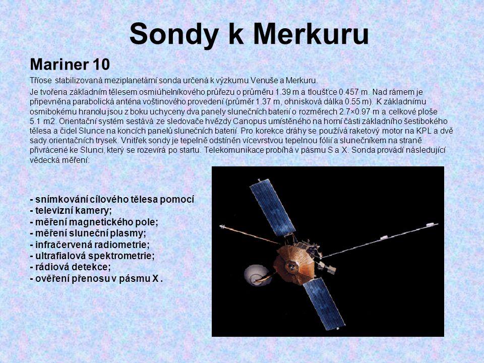 Sondy k Merkuru Mariner 10 - snímkování cílového tělesa pomocí