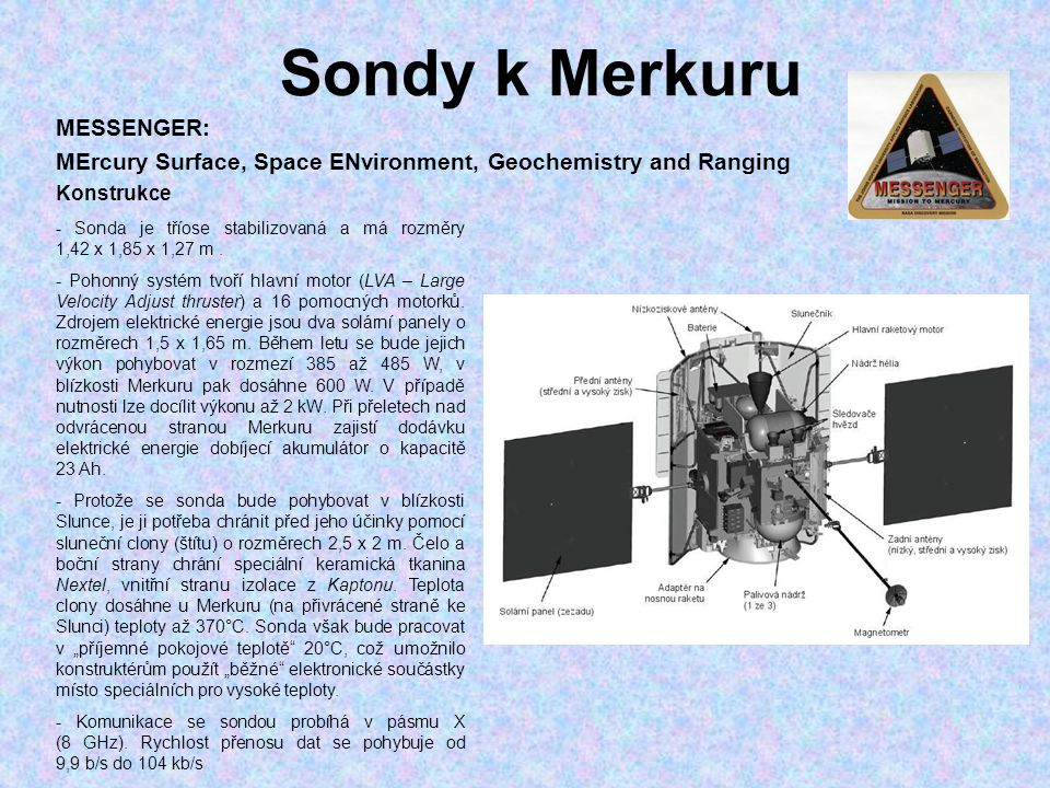 Sondy k Merkuru MESSENGER: MErcury Surface, Space ENvironment, Geochemistry and Ranging. Konstrukce.