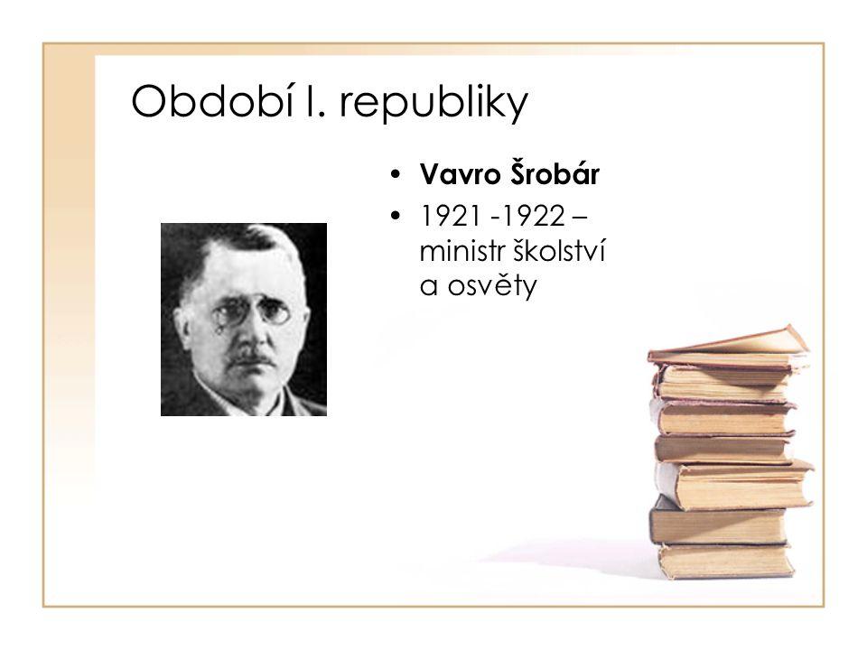 Období I. republiky Vavro Šrobár