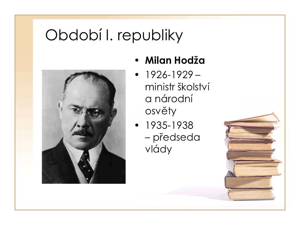 Období I. republiky Milan Hodža