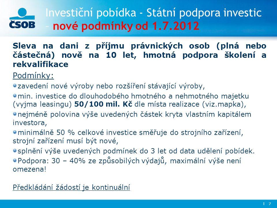 Investiční pobídka - Státní podpora investic – nové podmínky od 1. 7