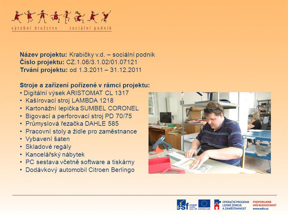 Název projektu: Krabičky v. d. – sociální podnik Číslo projektu: CZ. 1