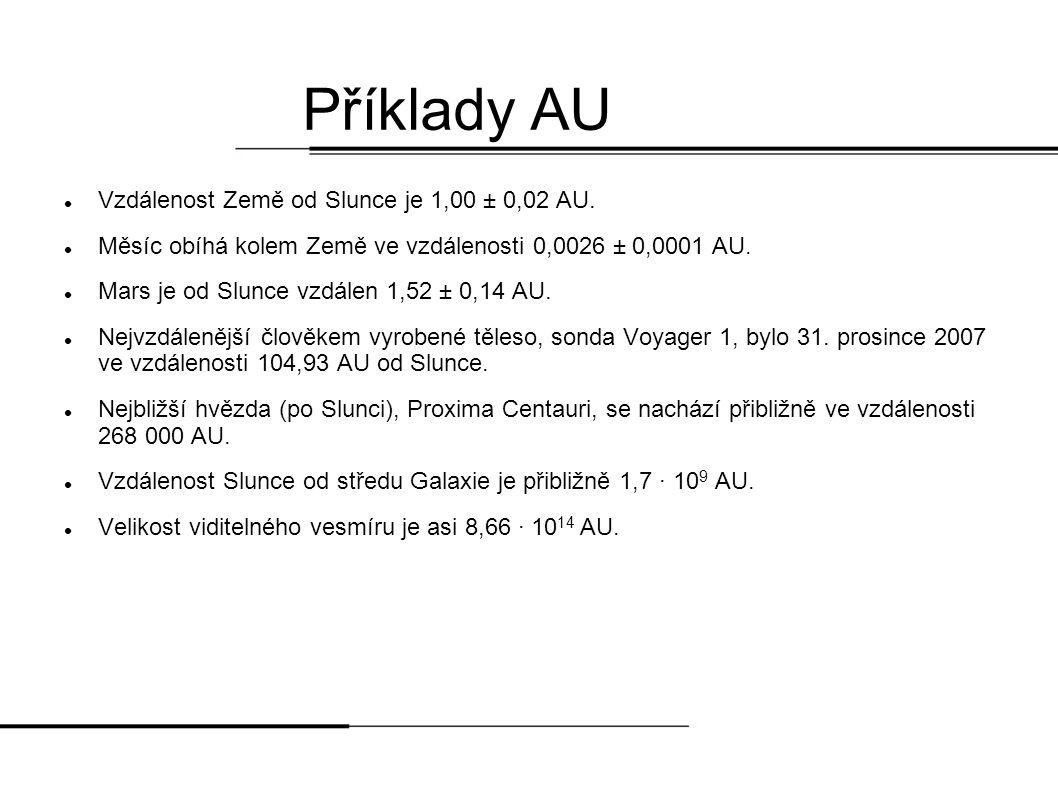 Příklady AU Vzdálenost Země od Slunce je 1,00 ± 0,02 AU.