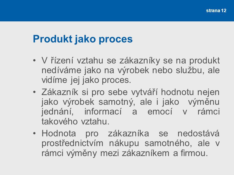 Produkt jako proces V řízení vztahu se zákazníky se na produkt nedíváme jako na výrobek nebo službu, ale vidíme jej jako proces.