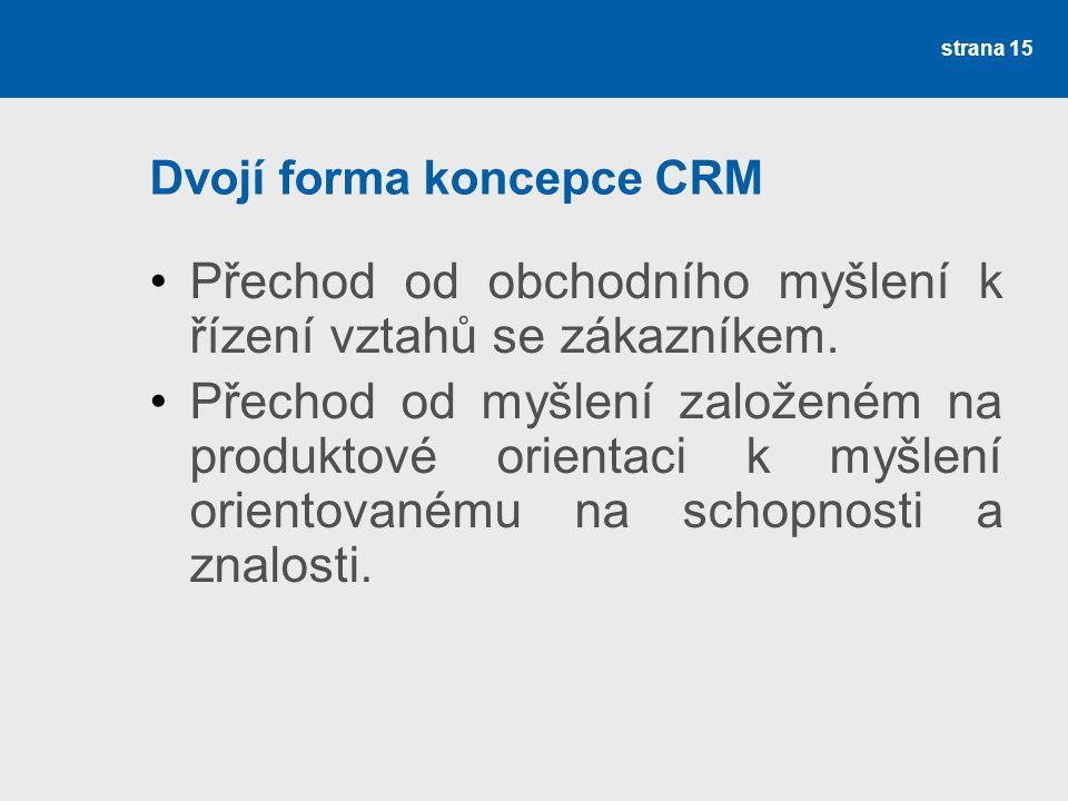 Dvojí forma koncepce CRM