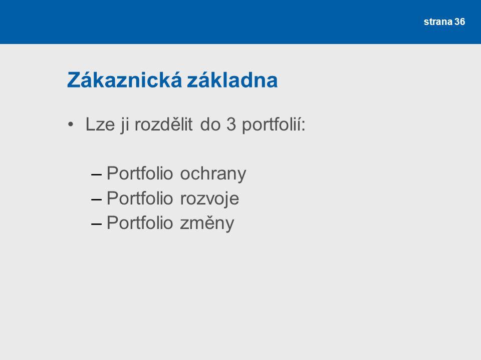 Zákaznická základna Lze ji rozdělit do 3 portfolií: Portfolio ochrany