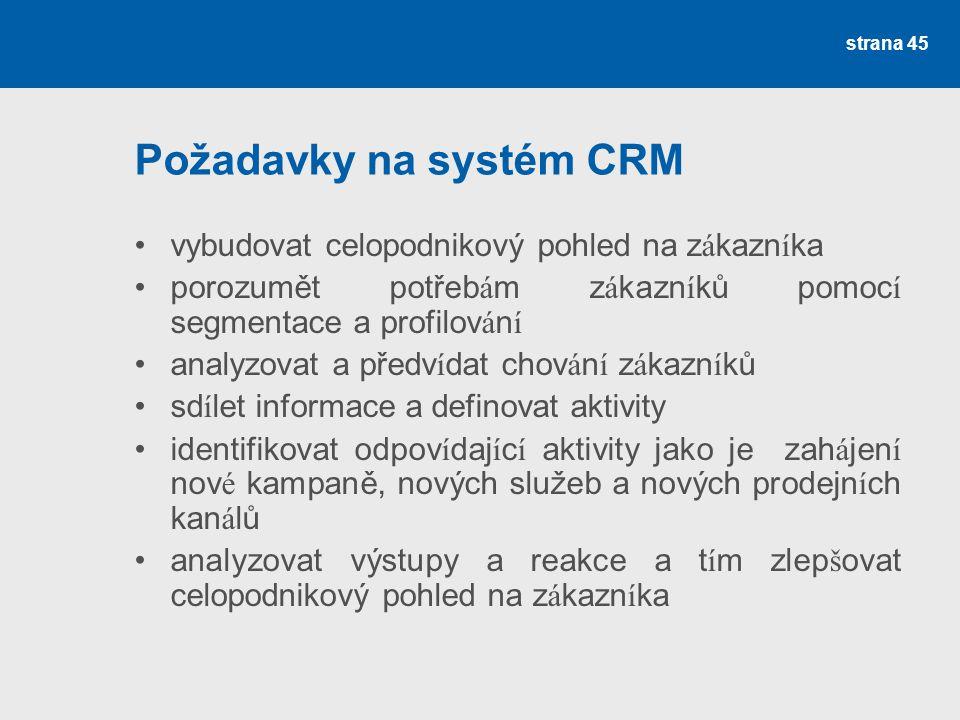 Požadavky na systém CRM