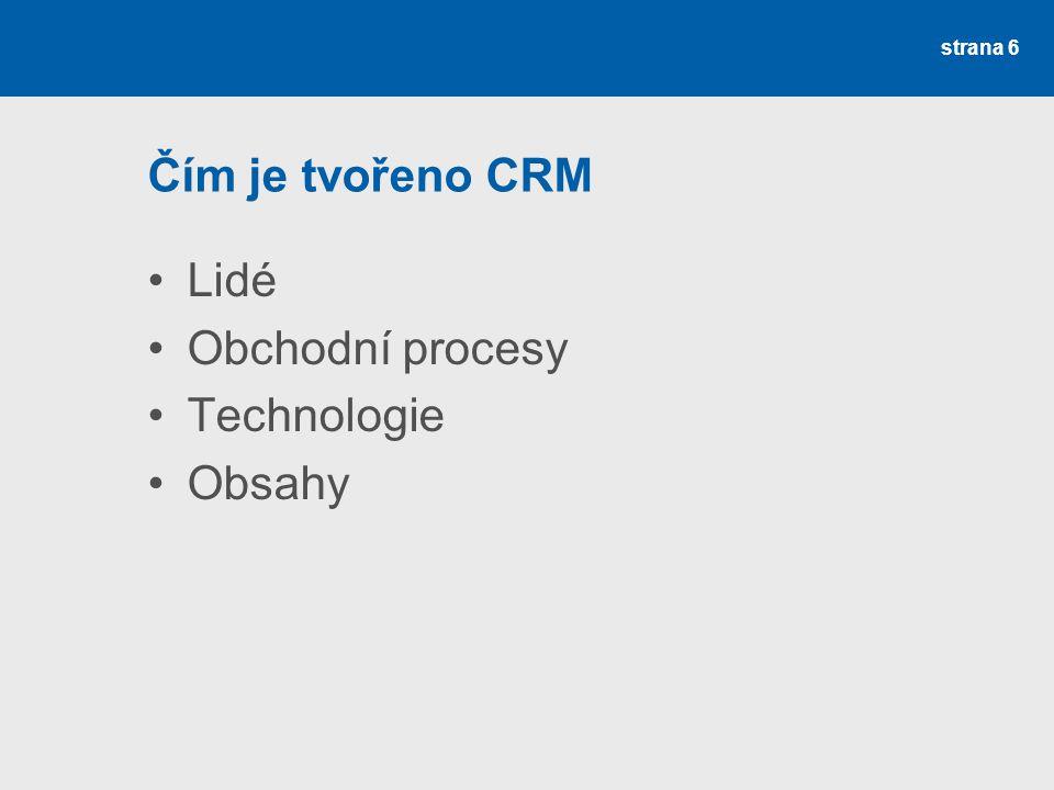 Čím je tvořeno CRM Lidé Obchodní procesy Technologie Obsahy