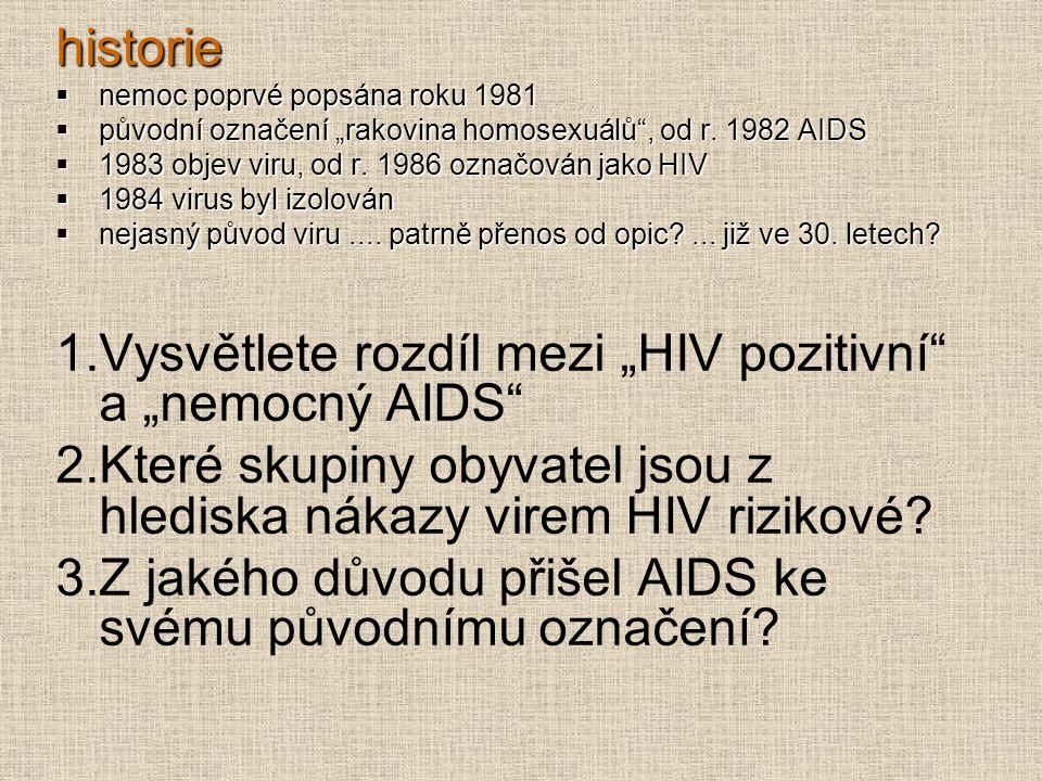 """Vysvětlete rozdíl mezi """"HIV pozitivní a """"nemocný AIDS"""