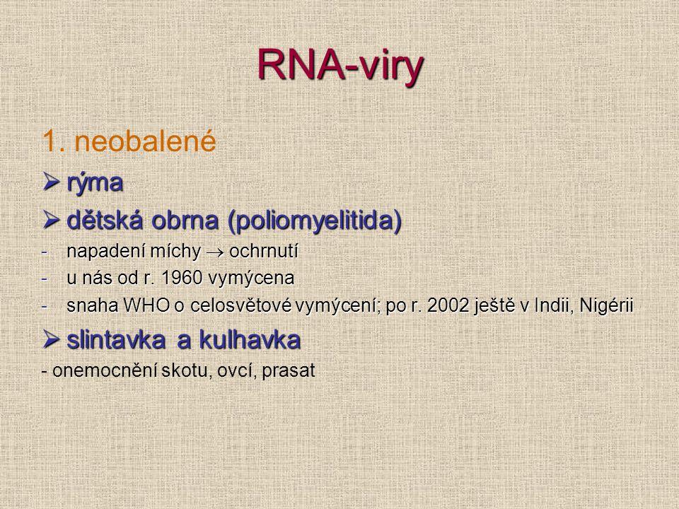 RNA-viry 1. neobalené rýma dětská obrna (poliomyelitida)