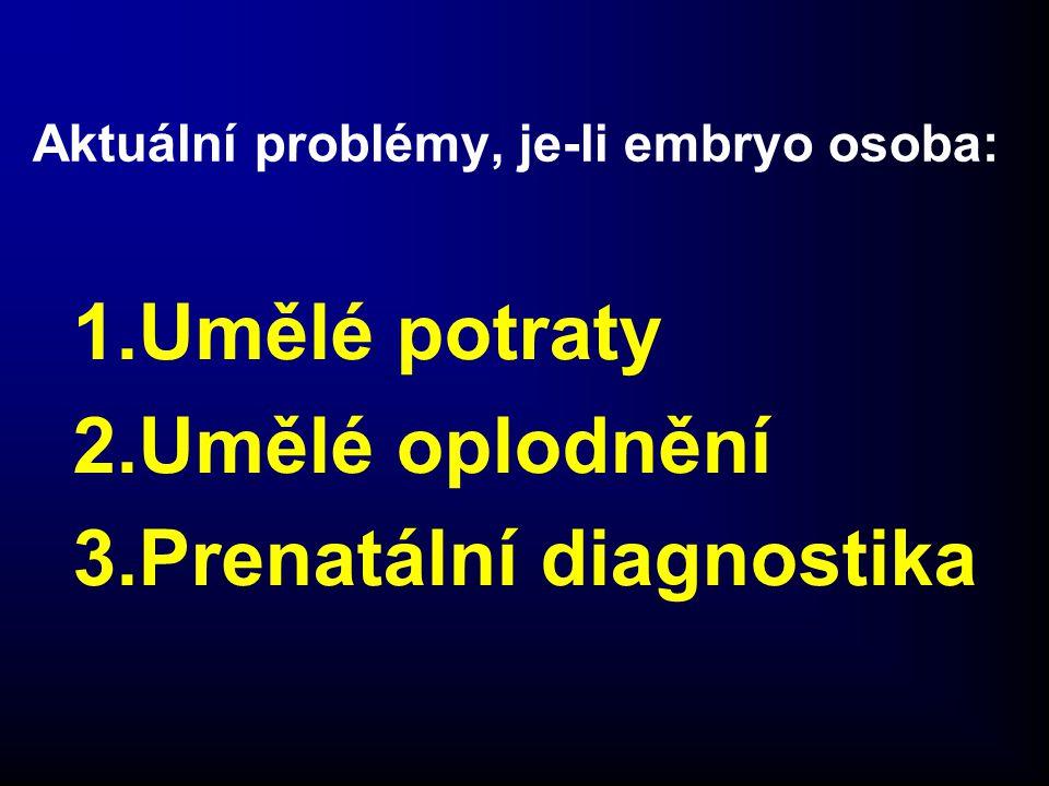Aktuální problémy, je-li embryo osoba: