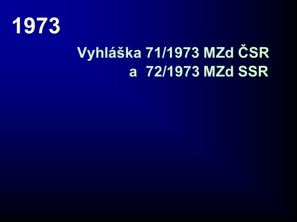 1973 Vyhláška 71/1973 MZd ČSR a 72/1973 MZd SSR