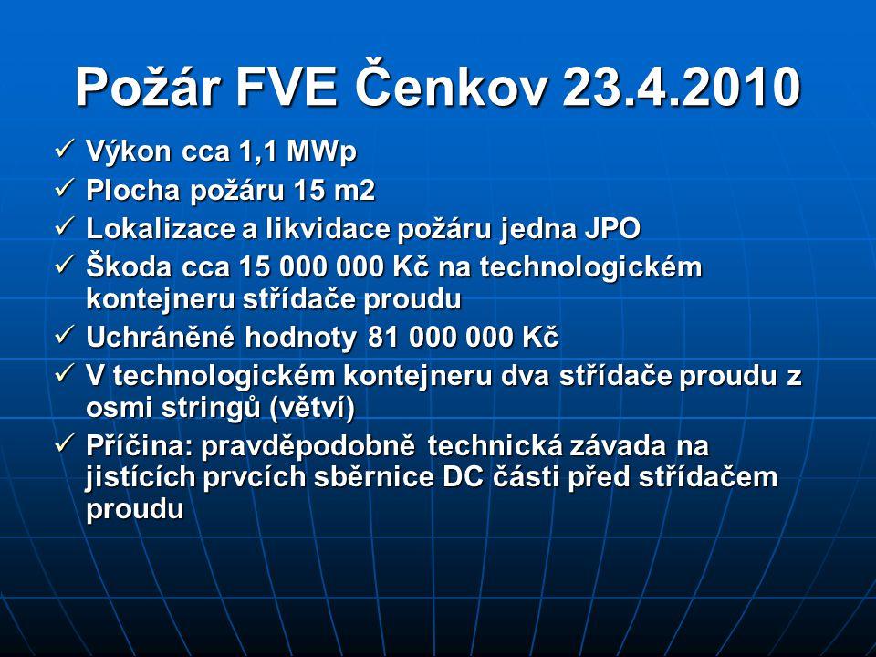 Požár FVE Čenkov 23.4.2010 Výkon cca 1,1 MWp Plocha požáru 15 m2