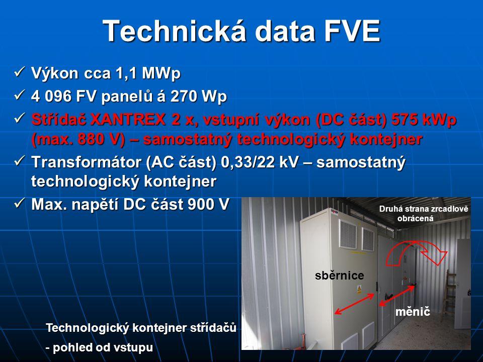 Technická data FVE Výkon cca 1,1 MWp 4 096 FV panelů á 270 Wp