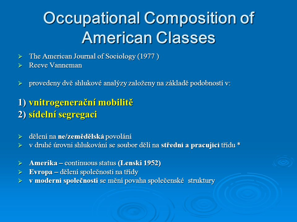Occupational Composition of American Classes