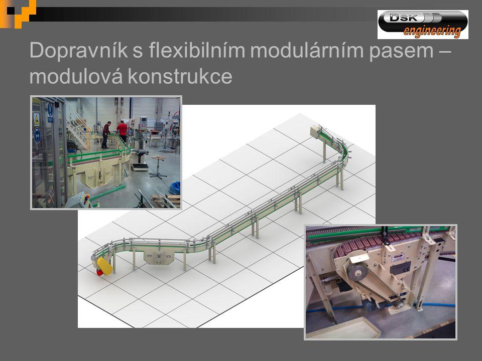 Dopravník s flexibilním modulárním pasem – modulová konstrukce