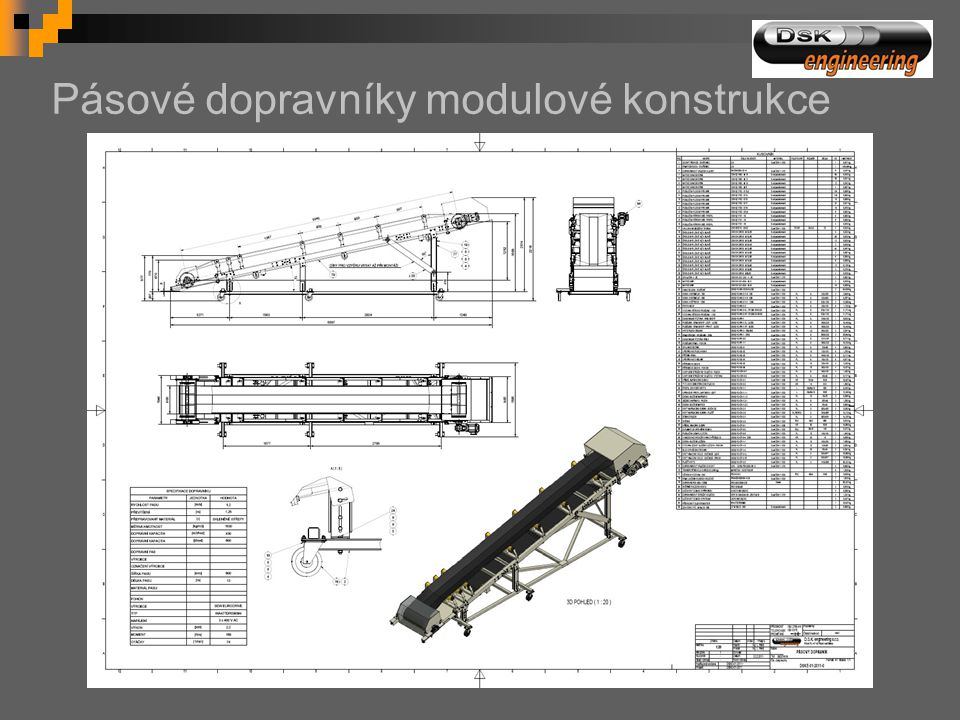 Pásové dopravníky modulové konstrukce
